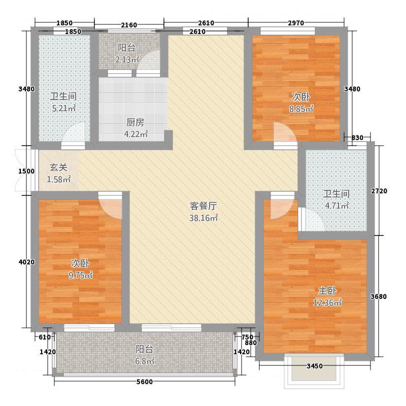 东方城市花园127.31㎡户型3室2厅2卫1厨