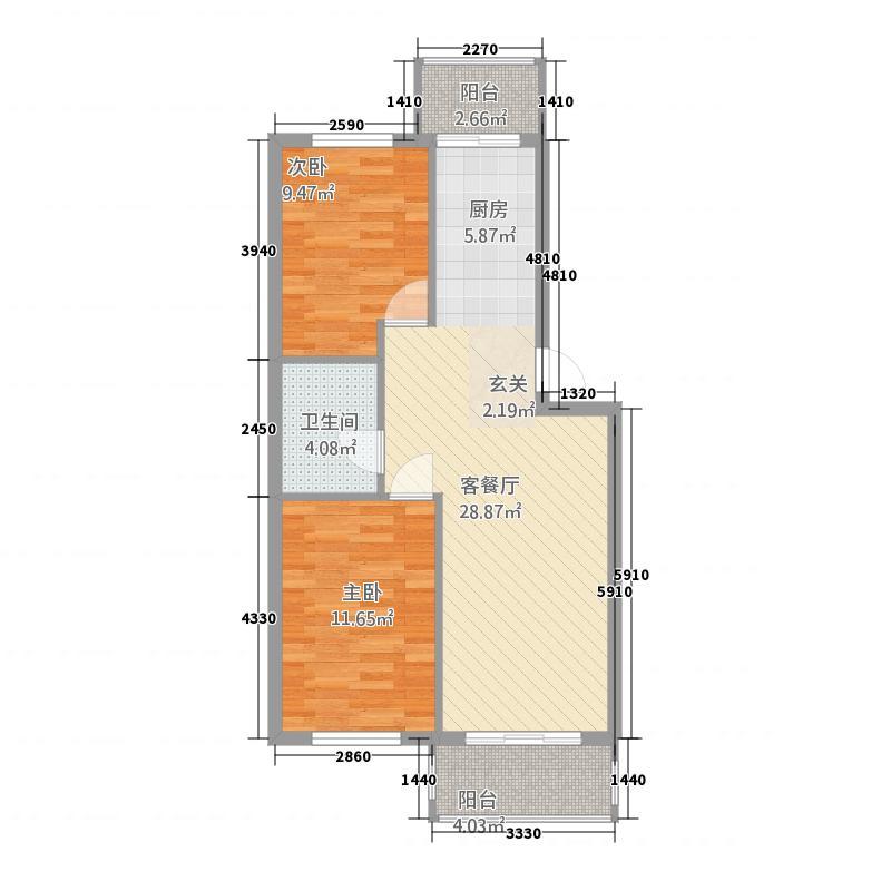 八一国际公馆85.78㎡户型2室1厅1卫1厨
