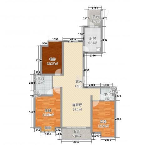 裕坤国贸广场3室1厅2卫1厨97.36㎡户型图