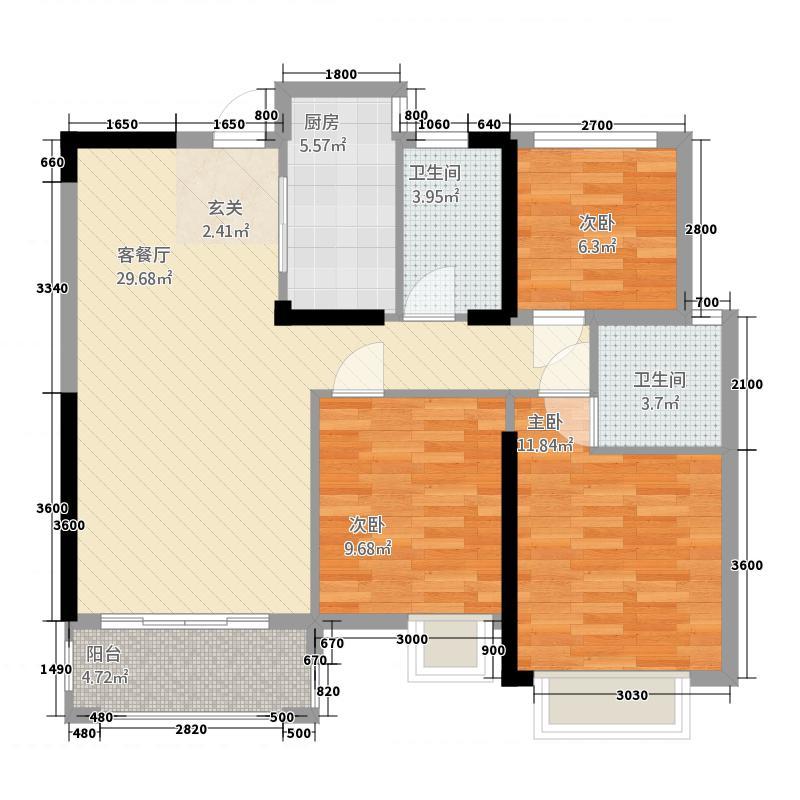 惠东嘉旺城143747344.00㎡户型3室2厅2卫1厨