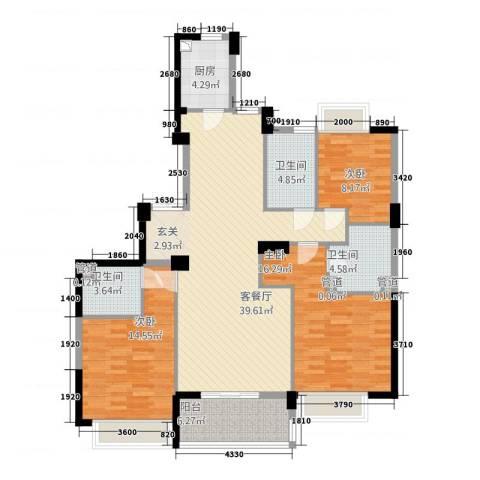 滨江城市之星3室1厅3卫1厨102.66㎡户型图