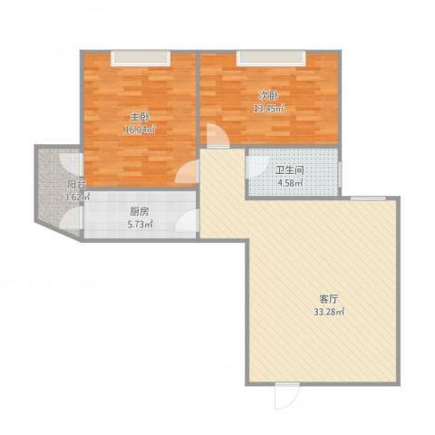 惠景城2室1厅1卫1厨102.00㎡户型图