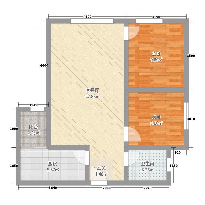 水晶郦城A户型2室2厅1卫