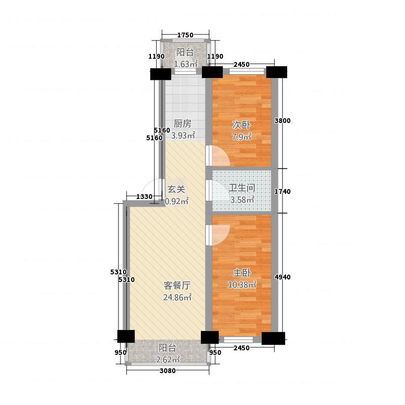 文苑华庭2.20㎡户型2室1厅1卫1厨