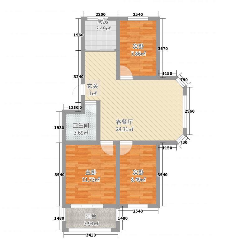 珠山和贵园5322.28㎡户型3室2厅1卫1厨