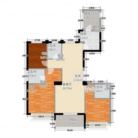滨江城市之星3室1厅3卫1厨141.00㎡户型图