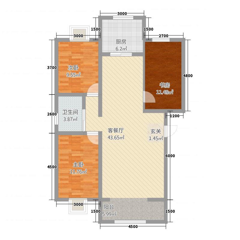 润和居二期1116.82㎡B1户型3室2厅1卫1厨