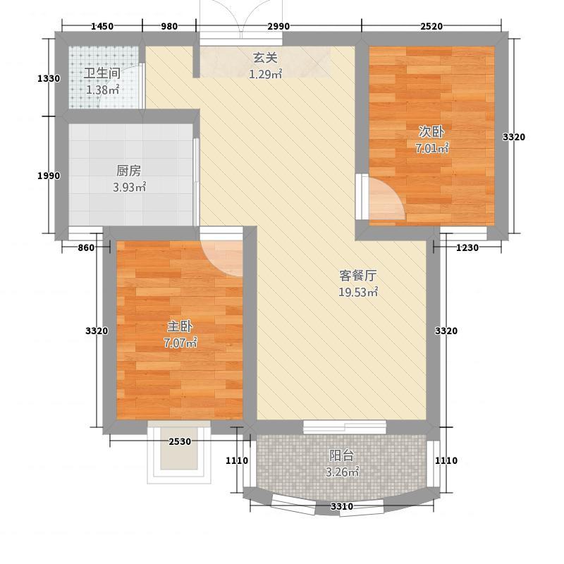 崇城国际62.82㎡C6户型2室2厅1卫1厨
