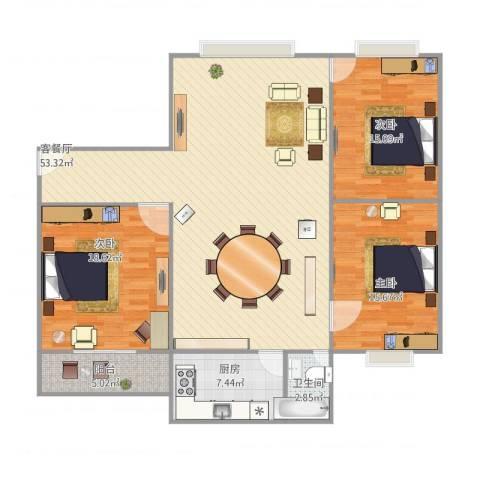 商住城3室1厅1卫1厨156.00㎡户型图