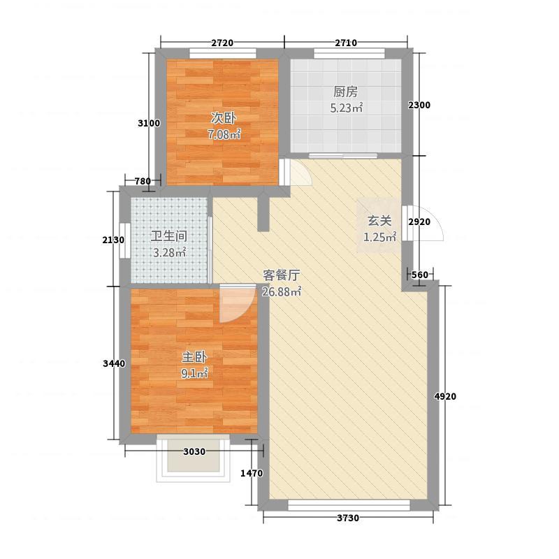宝青・丽景天成7.53㎡B户型2室2厅1卫1厨