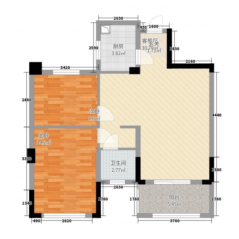 金色天地12214.20㎡户型2室2厅1卫1厨