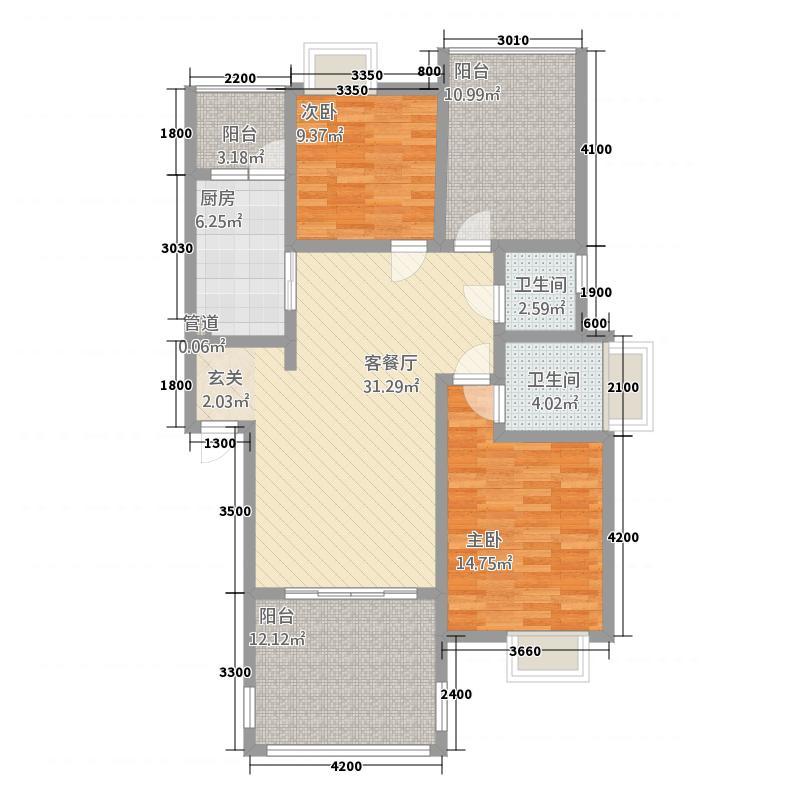 华尔兹庄园15.33㎡D户型2室2厅2卫1厨