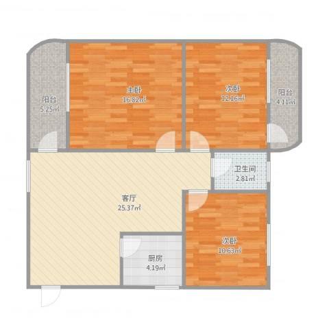 惠景城3室1厅1卫1厨110.00㎡户型图