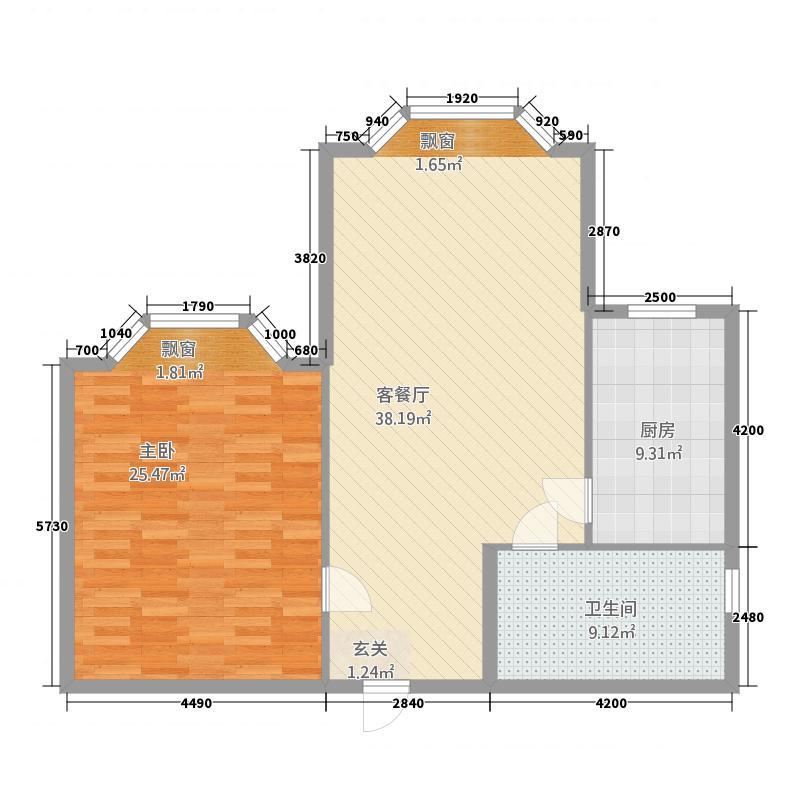 凤凰城111.20㎡一居户型1室1厅1卫1厨