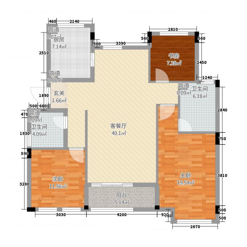 绿城乌镇雅园14.20㎡-户型3室2厅2卫1厨