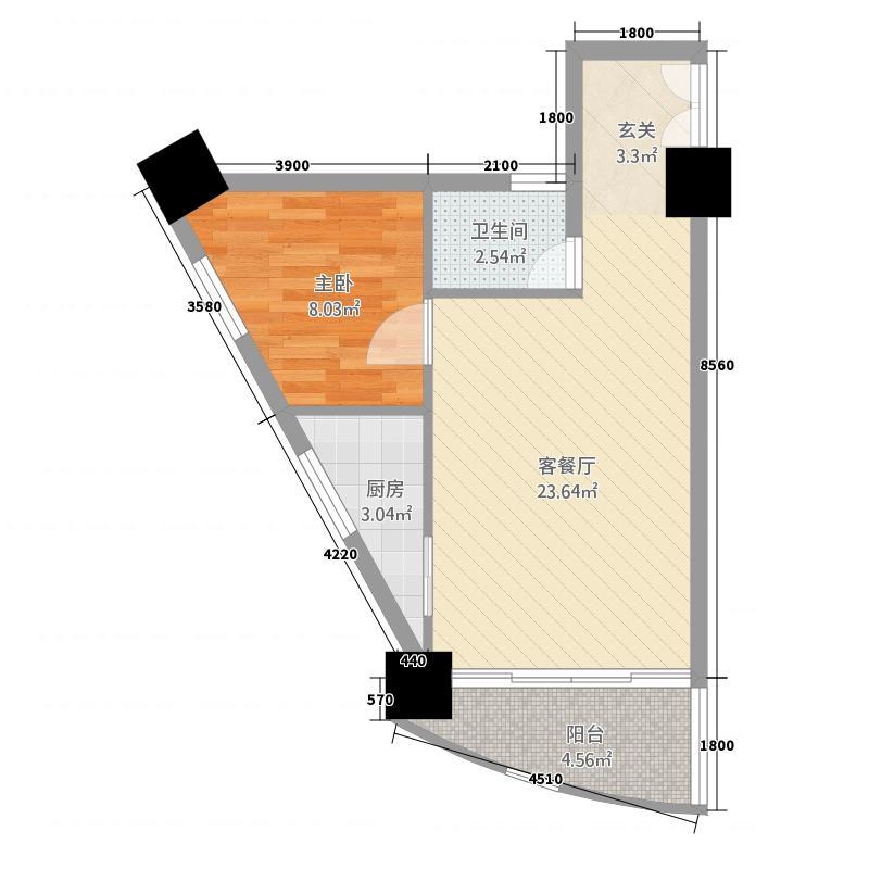 金典雅苑66.25㎡1、4号户型1室2厅1卫1厨