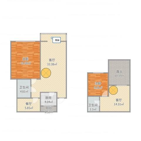海天馨苑通鑫园2室3厅2卫1厨144.00㎡户型图