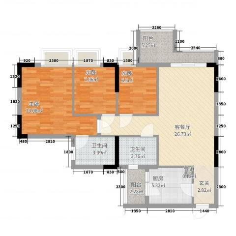 阳光时代3室1厅2卫1厨1324677.00㎡户型图