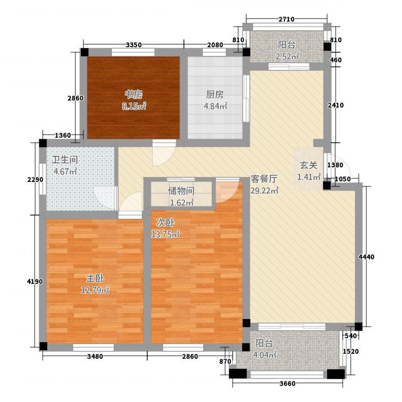 龙豪国际花园211.11㎡2_副本户型3室2厅1卫1厨