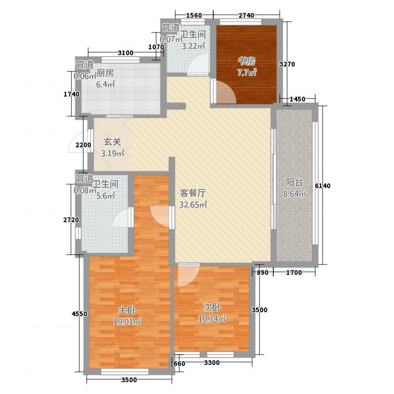 绿城乌镇雅园128.20㎡-户型3室2厅2卫1厨