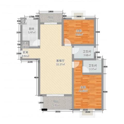 昆城豪庭2室1厅2卫1厨116.00㎡户型图