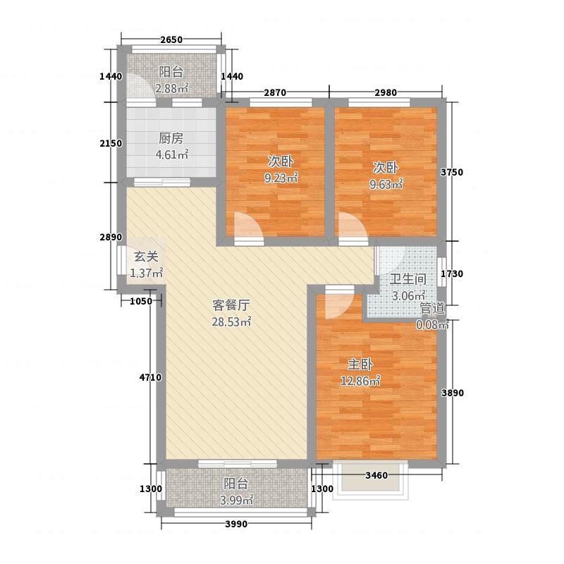 逸翠湾3218.82㎡C户型3室2厅1卫1厨