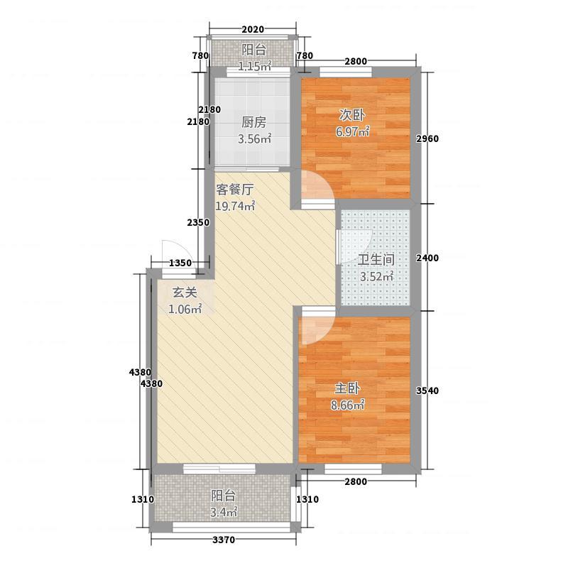 东城领秀5283.31㎡户型2室2厅1卫1厨