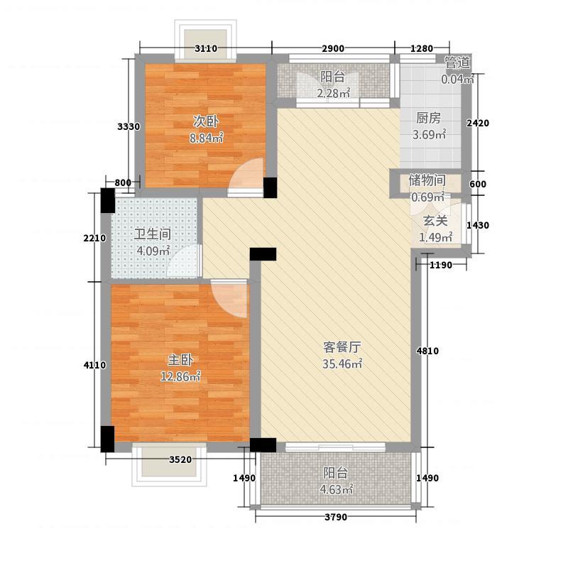 群宝尚林苑2.20㎡户型2室2厅1卫1厨