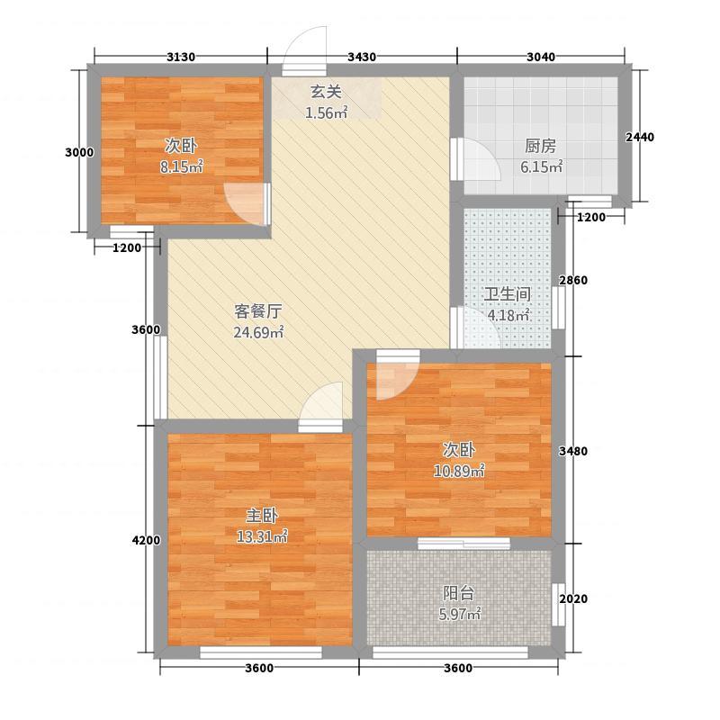 汇金国际33215.20㎡户型3室2厅1卫1厨