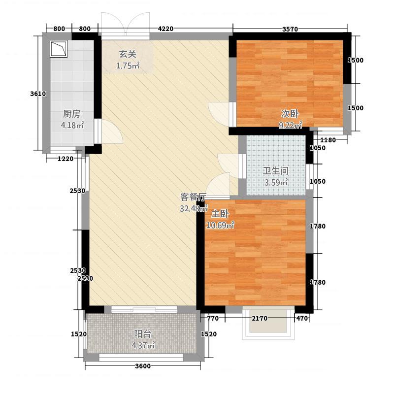 华悦公馆221888.20㎡户型2室2厅1卫1厨