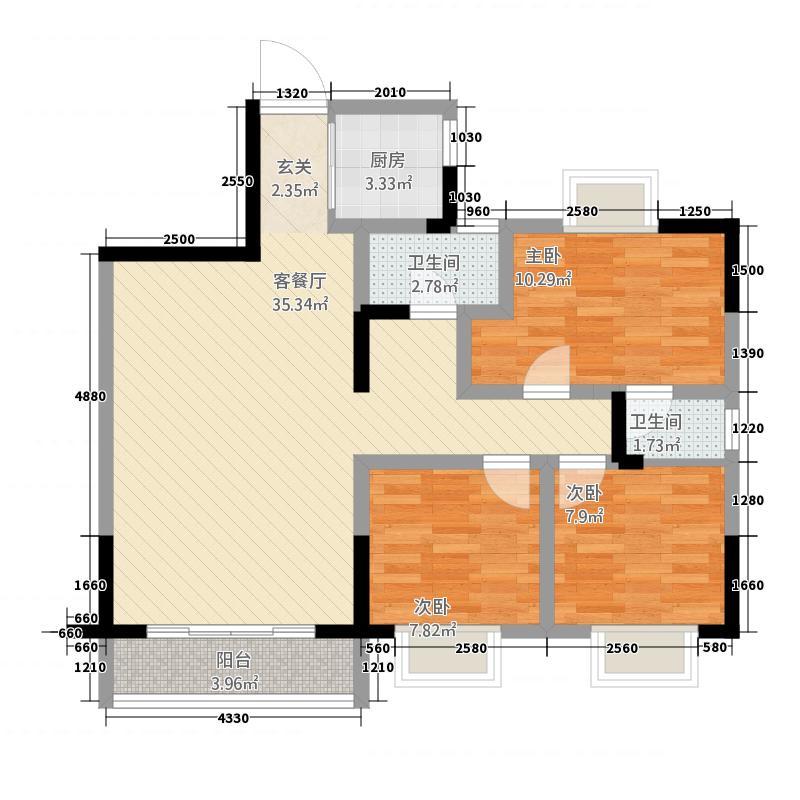 豪逸华庭32216.72㎡C户型3室2厅2卫1厨
