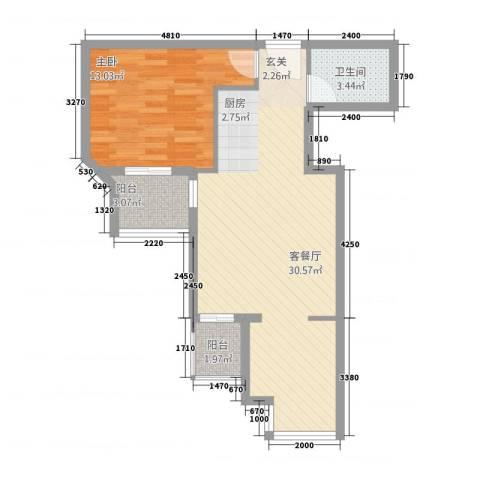 嘉德公寓1室1厅1卫0厨71.00㎡户型图