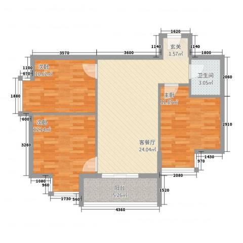 嘉德公寓3室1厅1卫0厨66.97㎡户型图