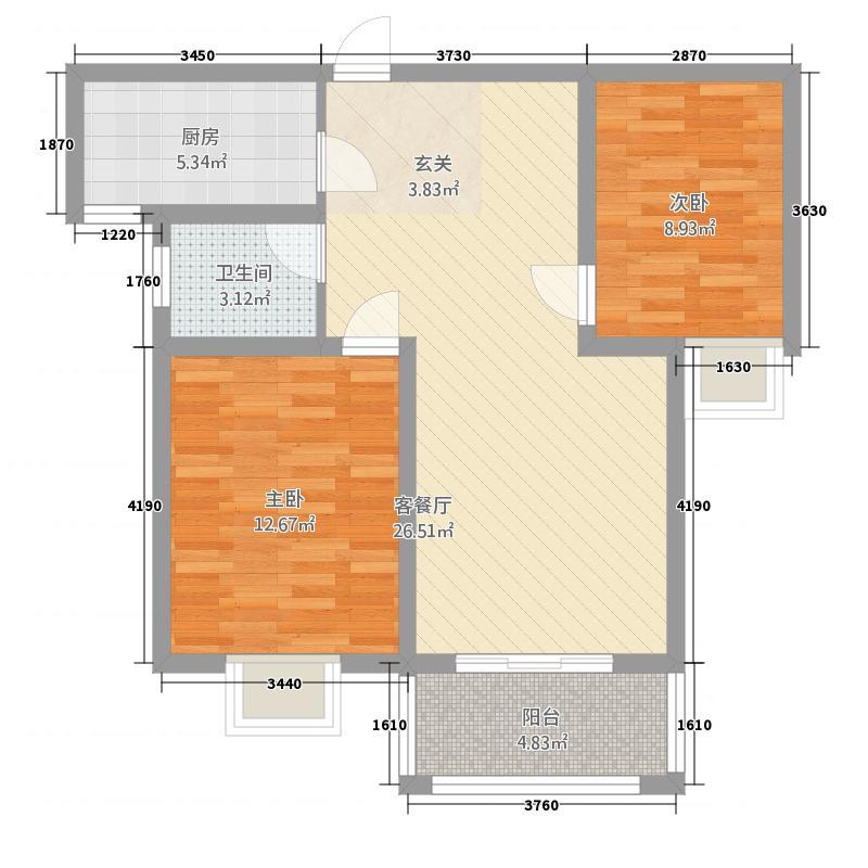 润程文府苑388.20㎡户型2室2厅1卫