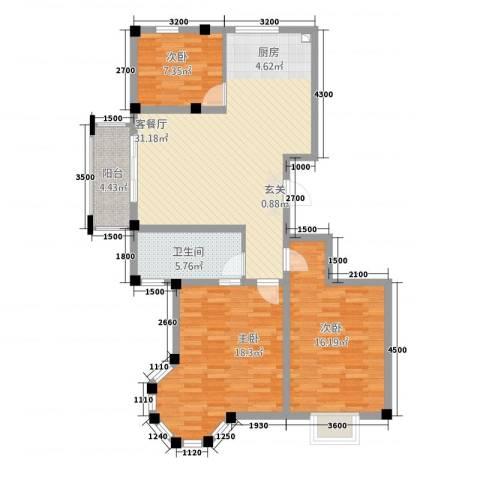 昆城豪庭3室1厅1卫0厨117.00㎡户型图