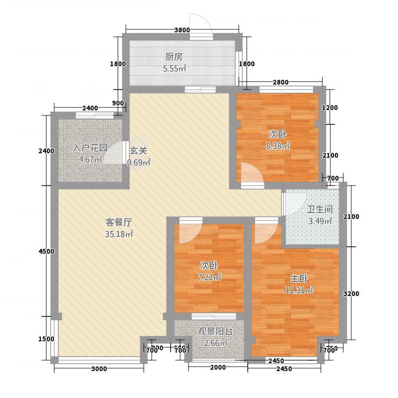 海天华府322.81㎡C户型3室2厅1卫