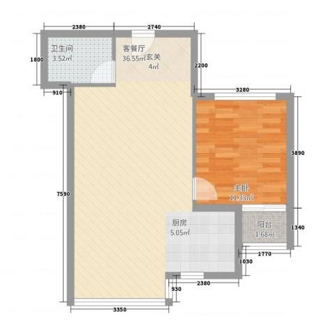 嘉德公寓1室1厅1卫0厨72.00㎡户型图