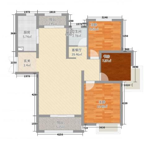 中星湖滨城凡尔赛九郡3室1厅1卫1厨125.00㎡户型图