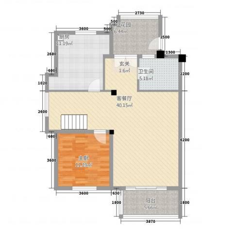 卡布其诺1室1厅1卫1厨113.00㎡户型图