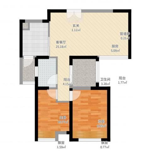 无锡海岸城2室1厅1卫1厨85.00㎡户型图