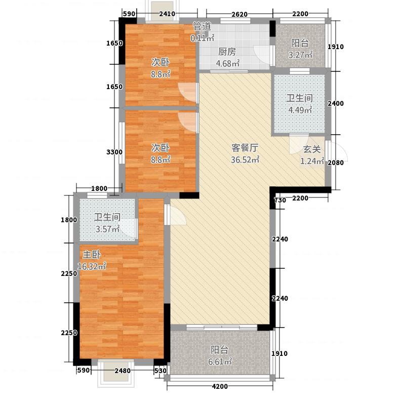 龙州滨江世纪城2312.42㎡户型3室2厅1卫1厨
