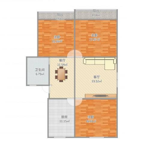 控江绿苑3室2厅1卫1厨143.00㎡户型图