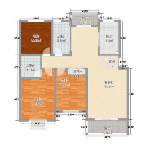滨河花园3室1厅2卫1厨32211363840.00㎡户型图