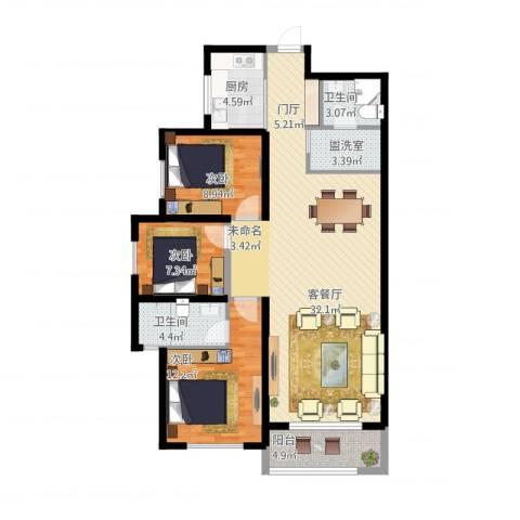 高新大都荟3室2厅2卫1厨128.00㎡户型图