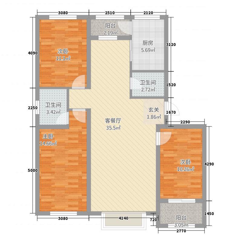 瑞德佳苑771545152.00㎡a_户型3室2厅2卫1厨