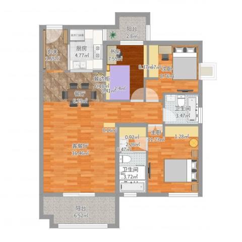 北湖星城五期3室1厅3卫1厨125.00㎡户型图