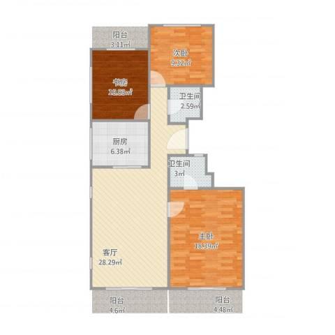 常青园3室1厅2卫1厨105.00㎡户型图