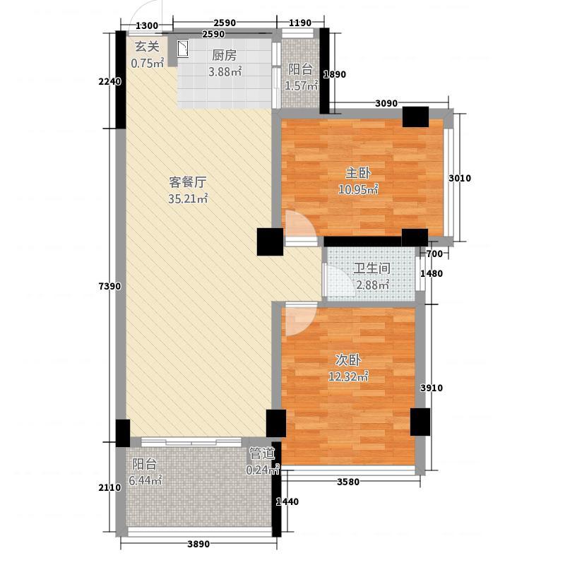 仁信南洋星城4285.32㎡C户型2室2厅1卫1厨