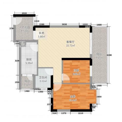 中区华府三期2室1厅1卫1厨92.00㎡户型图