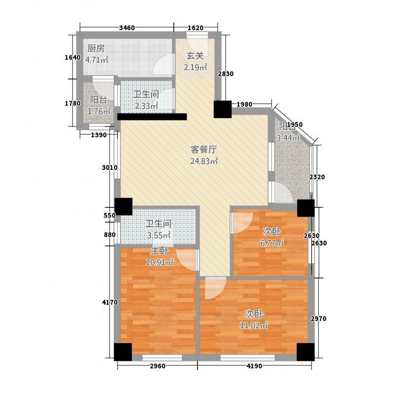 戎居公寓精装修户型3室1厅2卫1厨
